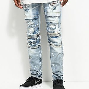 CRYSP DENIM MOTO jeans super distressed stone wash